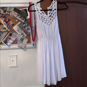 LF white dress with studs and cut outs worn twice